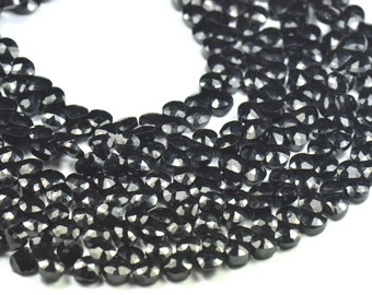 "9"" line 70 6mm black spinel briolettes heart shape faceted diamond polished spdr03 (we suggest using 0.10in 0.25mm wire)"