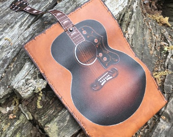 Guitar Leather Tobacco Pouch, Guitar Design, Tobacco Pouch, Print on Leather, Pipe Pouch, Genuine leather, Portatabacco, Tabakbeute
