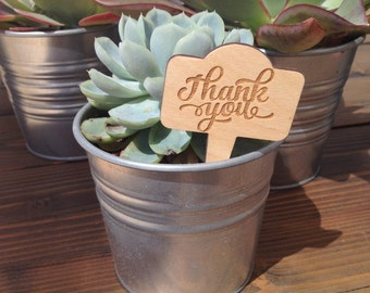 Set of 10 Thank you plant sticks for wedding favors, plants, succuletns