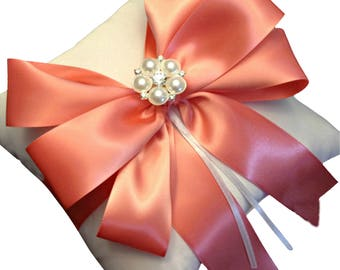 Ring Bearer Pillow - Ring Pillow -  Wedding Pillow -  Coral Ring Pillow - Coral Wedding - Wedding Ring Pillow - Bridal Pillow