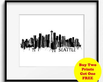 Seattle Skyline Watercolor Black and White Art Print (710) Cityscape Washington USA