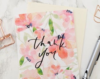 BOX SET OF 6 - Thank you card, Watercolor Floral Blank Cards, Note cards, Stationery