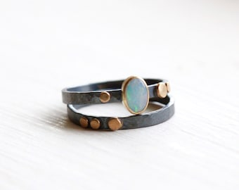 Opal Ring with Dots in Sterling Silver and 14k Gold Size 6