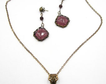 Vintage metal chain glass pendant necklace/ earrin set