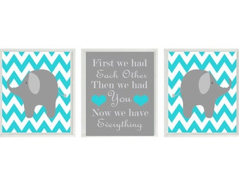 Elephant Nursery Art Print Set Chevron Baby Blue Gray Decor