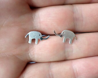 Silver Studs- Elephant Studs-Silver Elephant Earrings-Sterling Silver Elephant -Animal Jewelry-Gift Idea-Silver Animal-Valentines Day Gift
