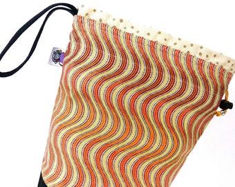 Small Knitting Project Bag Crochet Drawstring Tote WIP Bag - Electric Orange