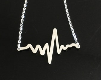 Heart Beat Necklace - Electrocardiogram EKG Rhythm  Necklace - EKG Necklace - Gift for Doctor Nurse -Medical Gift-Firefighter Paramedic EMT