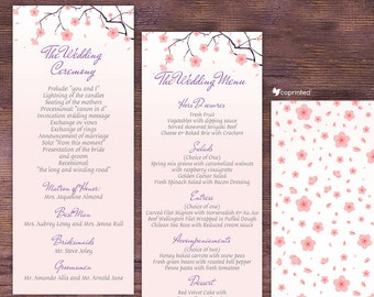 Cherry Blossoms Wedding Program - Wedding Menu - garden, floral, seasonal, nature, cherry, blossom, falling petals, petals, template