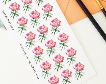 One Single Peony Stickers , Planner decoration stickers,