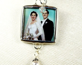 Bridal Bouquet Charm Memorial Wedding Bouquet Charm Brides Bouquet Photo Charm Two Sided Bouquet Charm