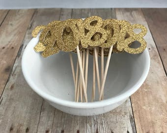 2018 Graduation Gold Glitter Cupcake Picks, Set of 12 - Wedding, Bridal Shower, Birthday Party, Bachelorette - Cupcake Topper, Party Picks