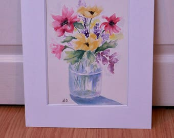 Vibrant Watercolor Summer Flowers Painting