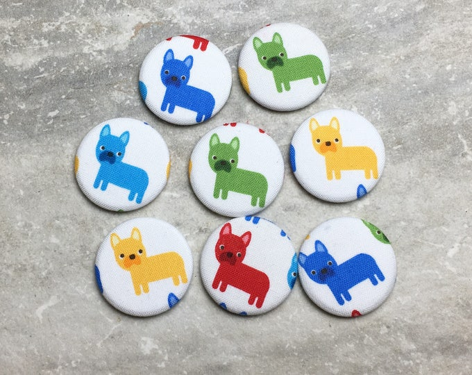 Dog Magnets - Colorful French Bulldogs - Set of 8 - Refrigerator Magnets - Office Decor