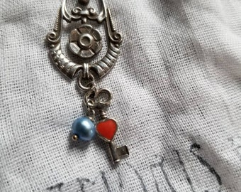 Antique French Nouveau Sterling Silver Lavalier Lock Pendant with Heart Key and pearl dangle charms