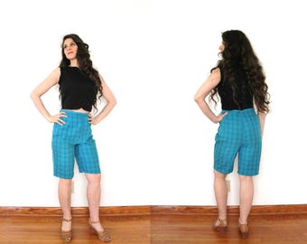 1960s Shorts / 60s Short / 1960s 1950s High Waisted Blue Plaid Bermuda Shorts