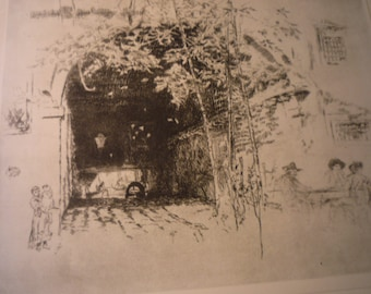 The Traghetto James McNeil Whistler large 1927 photogravure print suitable for framing art lovers Venice Canals best etching in Venice Set