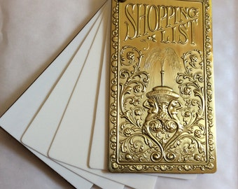 Edwardian notepad / shopping list replica memo pad with faux ivory reusable wipeable pages