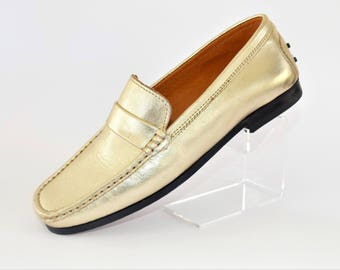 Etre Gold Flat Loafer Shoes/Slip-on Shoes/Retro Shoes/Vintage Shoes/UK Size 5/1990's