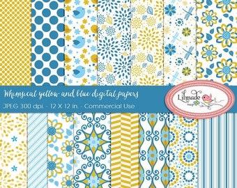 50%OFF Whimsical digital paper, floral digital paper, chevron digital paper, patterned scrapbook paper, DP40