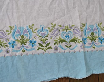 Vintage Lot/Set of 2 Blue Border with Green Purple Blues Floral on White - Feed Sacks Pillowcase Pillow Case