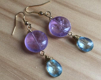 Earrings aquamarine blue sky jewelry quality and smooth Lavender Amethyst, spring, old, classic, mothers