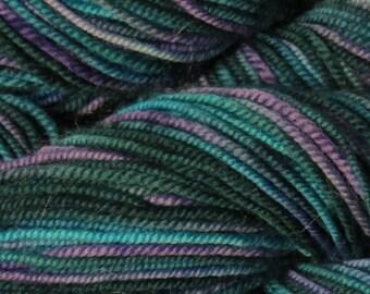 Handpainted Sport Weight Merino Wool Yarn blue purple teal Lilac Bouquet