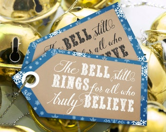Polar Express Bell Still Rings Party Gift Tags - INSTANT DOWNLOAD - Blue Printable Christmas Thank you, Party Favors by Sassaby Parties
