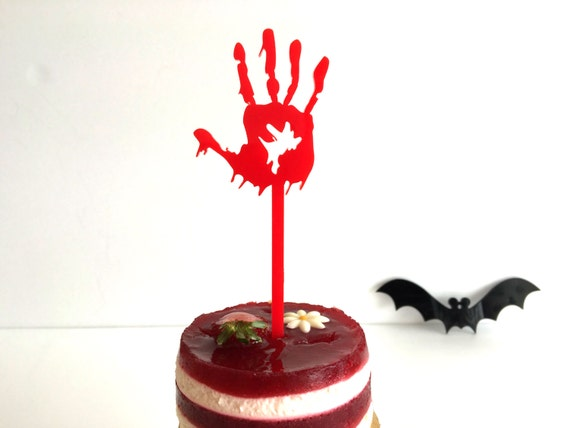 Bloody hands Cake toppers Witch silhouette Halloween spooky ornaments Halloween cupcake toppers Red skeleton Hand decoration Halloween party