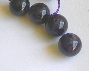 2 beads purple AMETHYST gemstone 12 mm