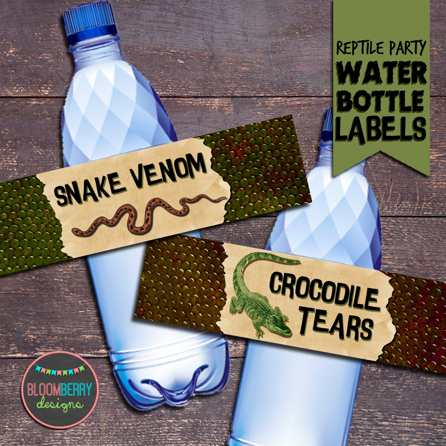 Reptile Party Reptile Party Water Bottle Labels Reptile