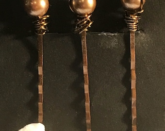Wire wrapped Gold Hair pins for UpDo's  Wedding**Prom**Bridesmaids