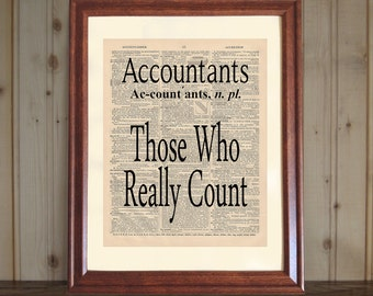 Accountant Dictionary Print, Accountant Quote, CPA Office Decor, Accountant Gift, CPA Print, Accountant Print on 5x7 or 8x10 canvas panel