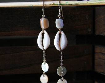 Cowrie Shell and Mother of Pearl Sterling Silver Earrings