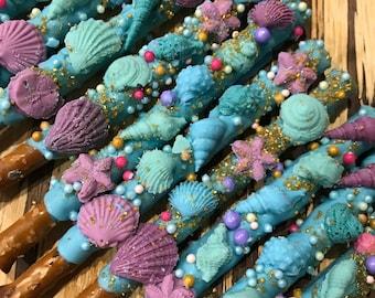 Sea Shells, Under the Sea, Chocolate Covered Pretzel Sticks