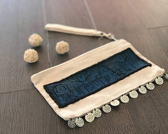 Canvas Wristlet with Blue Bedouin Embroidery with black beading and coin accents - HANDMADE