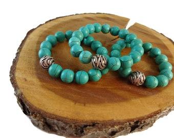 Green Magnesite Bracelet Sterling Silver Focal Beads, Chunky Teal Beaded Bracelet Stretch Design, Stacking Bracelet for Women Silver Gift