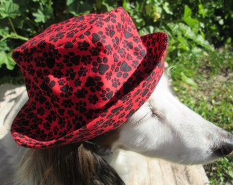 Dog Bucket Hat, paw print on red, Red dog hat, dog paw prints, animal print hat