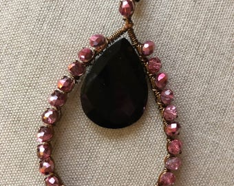 Pink and black onyx pendant necklace