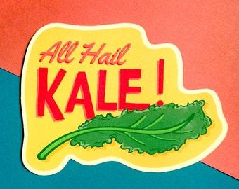 All Hail Kale Vegan Sticker - Eat Your Greens!