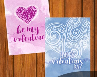 Valentines / Valentines Day / Heart Valentines / Print at home Valentines / Instant download / Valentines Day / Heart Cards
