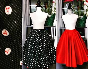 """Women's 32""""-36"""" Rockabilly Cherry Red Reversible Circular Skirt"""