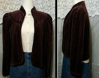 70s Jacket rt II Chocolate Brown Velvet Jacket Quilted Victorian Style Coat Avant Garde BoHo Mod Retro Puffy Shoulders Med