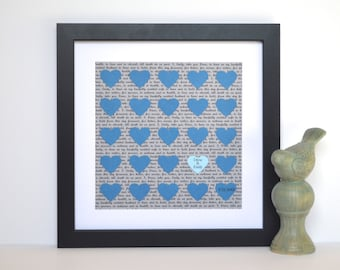 Customized First Anniversary Gift- Personalized Gift, Wedding Vow Keepsake, Teal and Brown, Gift for Bride, Framed Wall Art, Unique Gift