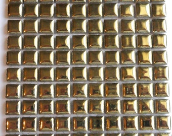 "100 MINI Gold Glazed Ceramic Tiles 3/8""//Mosaic Supplies//Crafts"