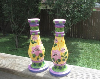 Milson & Louis Colorful Hand Painted Candlesticks,  Candle Holders,