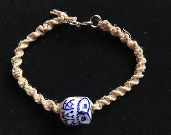 Owl hemp bracelet  6.5 in