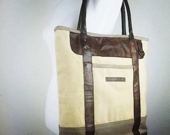 Designer Rustic Tote ~ Laptop Tote ~ Leather Tote ~ Canvas Tote ~ Leather Canvas Tote ~ Spacious Handbag ~ Travel Tote ~ Signature tote