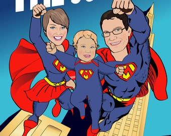 family superhero print personalized superhero print with 2 3 or 4 superheroes illustrated