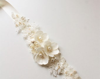 Ivory Bridal belt, Bridal sash ,Wedding dress belt sash ,Flower Pearl Bridal  belt ,Wedding Accessories,Bridal accessories